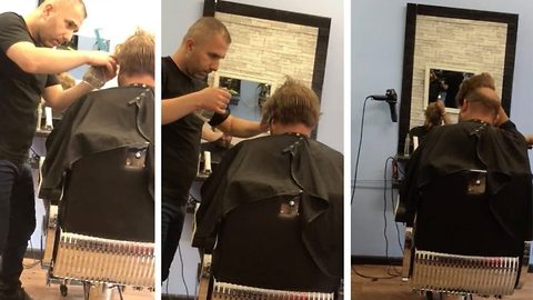 Cut that out! Hungover lads use bald pal to play wig prank on unsuspecting barber