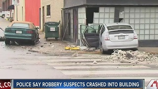 Car crashes into building in the Crossroads - Video