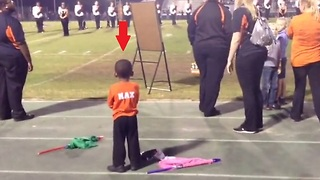 Adorable Little Color Guard Performs Routine From Sidelines - Video