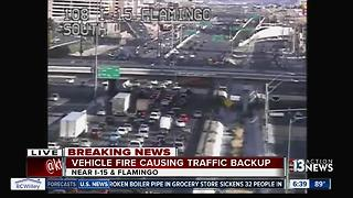 Vehicle fire causing traffic backup on Interstate 15 in Las Vegas - Video
