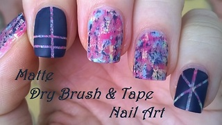 Matte dry brush tape nail art