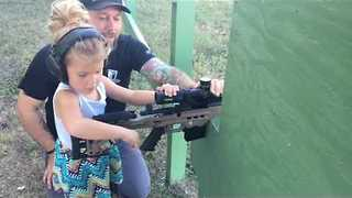 4-Year-Old Girl Practices Her Shooting at Rifle Range - Video
