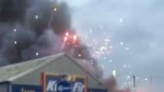 Fireworks Explode During Southampton Factory Fire - Video