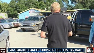 70-year-old Cancer survivor gets his car back - Video