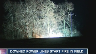 Arching power lines cause field fire - Video