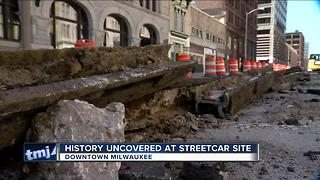 New streetcar crews unearth historic original streetcar lines - Video