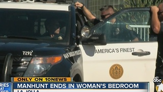 Manhunt for car thief ends in woman's bedroom - Video
