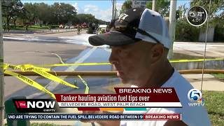 Aviation tanker spill leaks fuel into storm drains near PBIA - Video