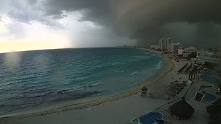 Shelf Cloud Forms Over Cancun Beaches - Video