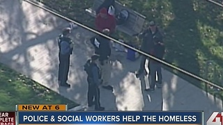 KCPD and social workers offer help to homeless people on Indian Creek Trail - Video