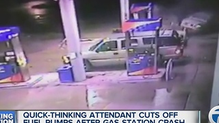 Video captures crash of car through gas station gas pump - Video