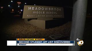 Parents worried after second student hit list discovered at Poway school