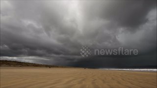 Time-lapse of intense storm clouds over Northern Ireland's Benone Beach - Video
