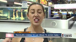 Travelers fly to Las Vegas to get away from family for the holidays - Video