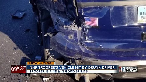 NHP Trooper's vehicle hit by a suspected DUI driver