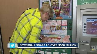 Powerball soars to over $500 million