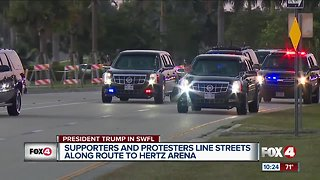 Supporters, protestors line streets ahead of president's visit to Southwest Florida