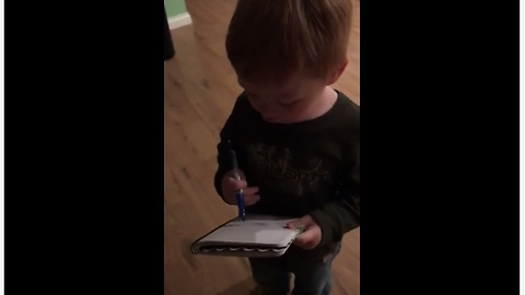 Adorable Toddler Makes Sure Grocery List Is Set And Done