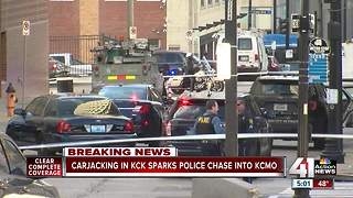 Officer shoots carjacking suspect after chase from KCK - Video