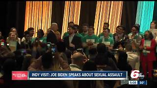 Former Vice President Joe Biden talked to thousands of students in Indianapolis about bringing an end to sexual assault - Video