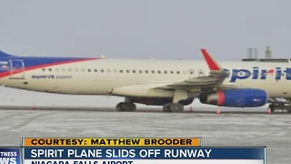 Spirit plane skids off runway - Video