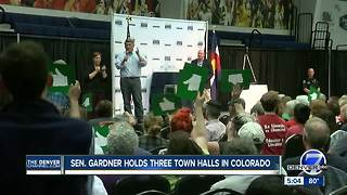 Sen. Cory Gardner holds raucous town halls in Colorado - Video
