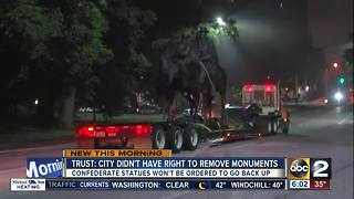 Historical trust says city didn't have right to remove confederate statues - Video