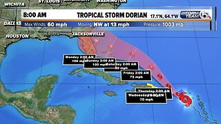 Wednesday 8 a.m. Update: Dorian forecast to become Category 2 hurricane