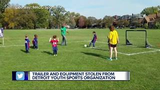 Trailer and equipment stolen from Detroit youth sports organization - Video