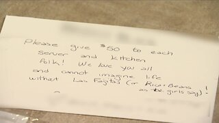 Customer tips $950 for staff at a Castle Pines restaurant