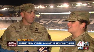 Married army soldiers honored at Sporting KC game