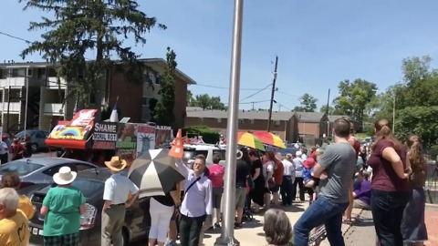Opposing Groups Rally at Columbus Mosque on Eid