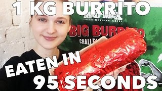 Competitive Eater Destroys 1 KG Burrito Challenge - Video