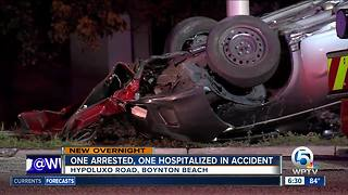 Rollover crashes sends 1 person to hospital, results in arrest - Video