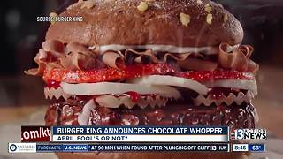 Burger King announces Chocolate Whopper on April Fool's Day - Video