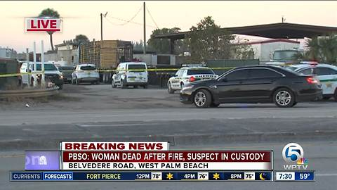 PBSO: Suspect in custody, female dead after trailer fire at metal recycling business