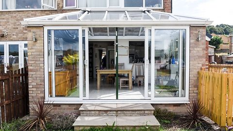 Mum claims she's forced to prop up death trap £20k conservatory with metal pole