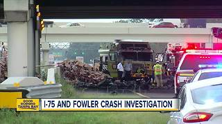 One driver dead in fiery crash involving several vehicles on I-75 and Fowler Avenue