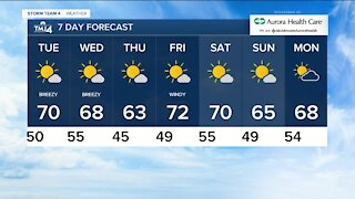 Tuesday is sunny with highs near 70