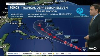 Tropical Depression 11 expected to strengthen into Tropical Storm Josephine later today