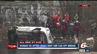 Hit-and-run driver sends car off Indy bridge, into creek - Video