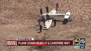 Plane crashes near I-17 and Carefree Highway - Video