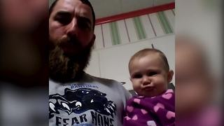 Baby Girl and Her Dad Blow Raspberries At Each Other - Video