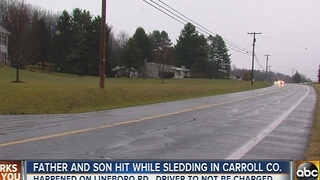 Father, son hit by car while sledding in Carroll County - Video