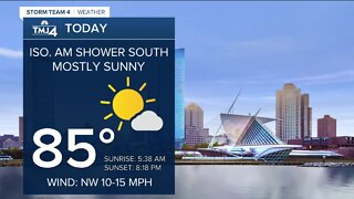 Mostly sunny and becoming less humid Monday