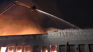 Fire engulfs iconic Littlewoods Pools Building in Liverpool