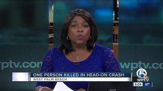 1 dead in head-on collision in West Palm Beach