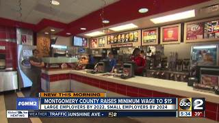 Montgomery County Council Increases minimum wage to $15 an hour - Video