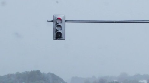 LED traffic lights blocked by snow on Sunday