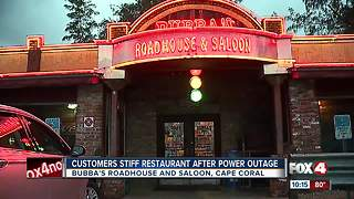 Customers stiff restaurant after power outage